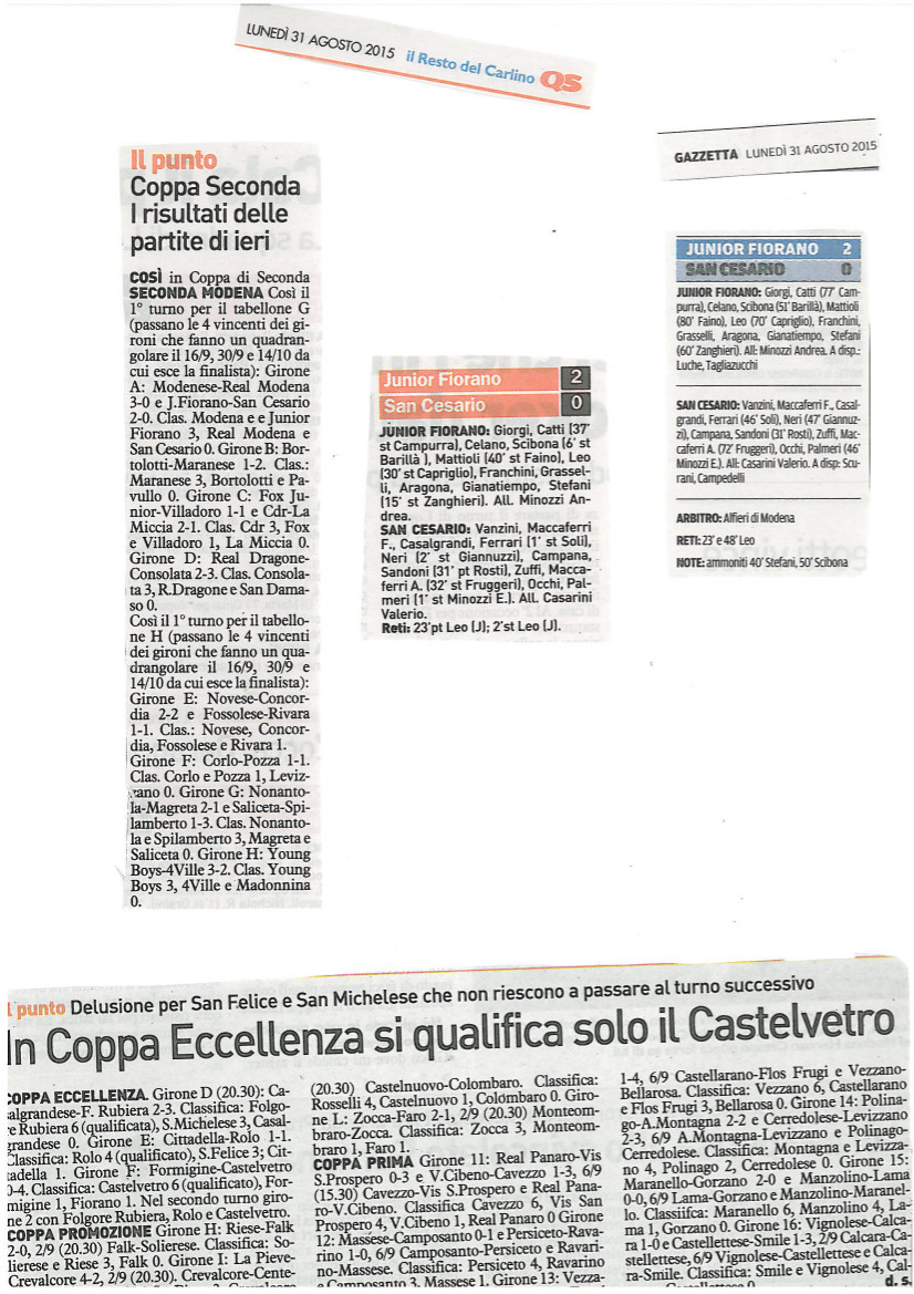 Rassegna Stampa 31 Ago 2015