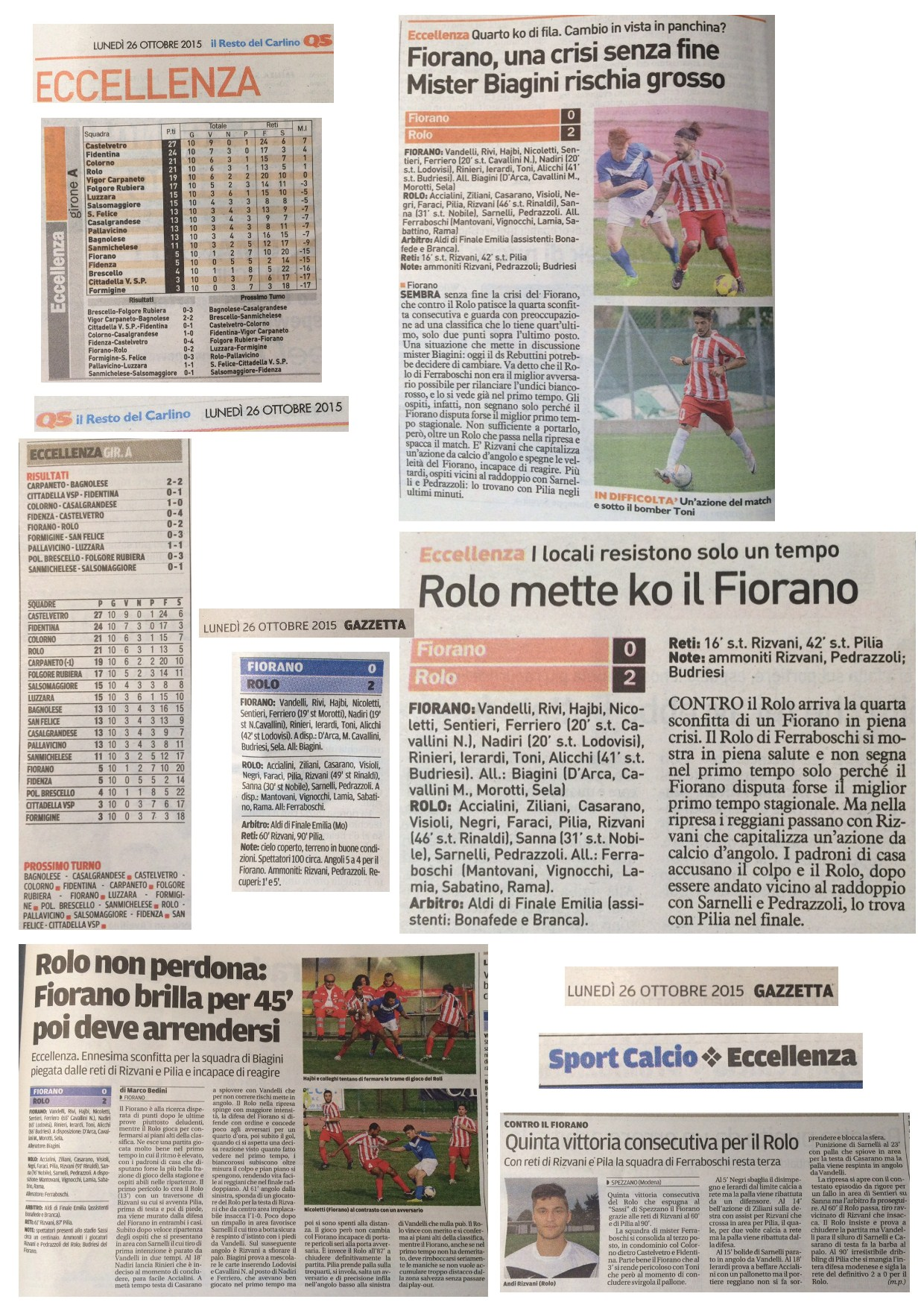 Rassegna Stampa 26 Ottobre 2015 - AC Fiorano (1^ Parte)