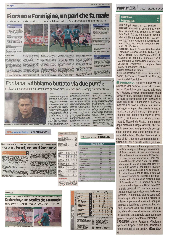 Rassegna Stampa 7 Dicembre 2015 - AC Fiorano
