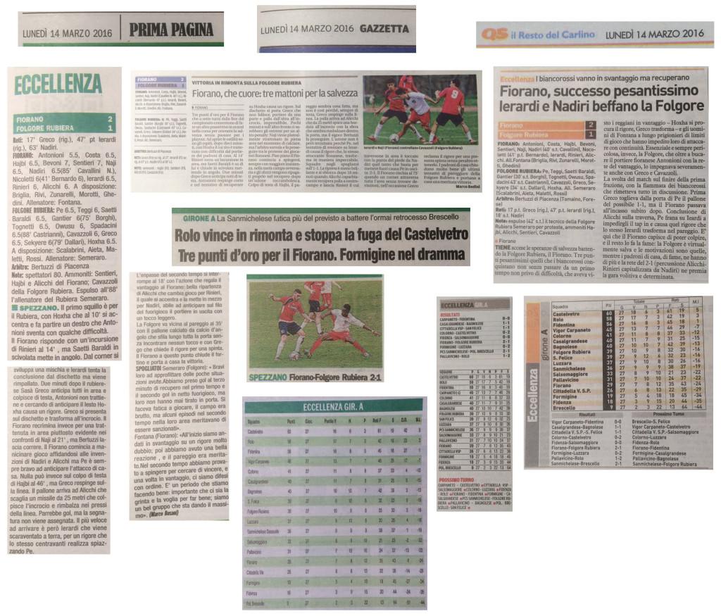 Rassegna Stampa 14 Marzo 2016 - AC Fiorano