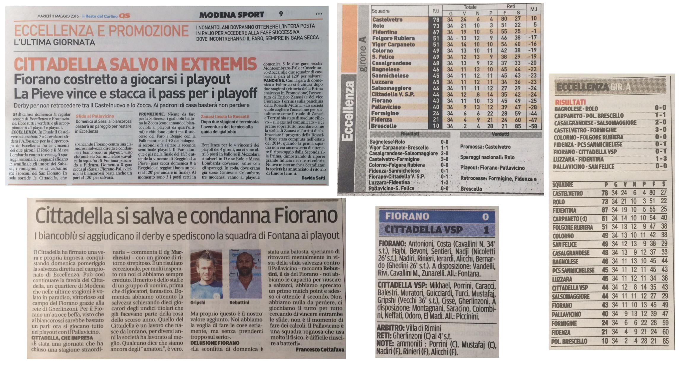 Rassegna Stampa Martedì 3 Maggio 2016 - AC Fiorano